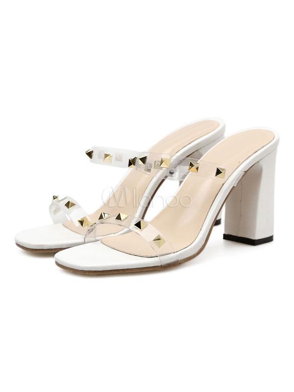 Sandalias de tacón alto blanco punta abierta remaches sandalias sin respaldo sandalias para las mujeres xLt9t2