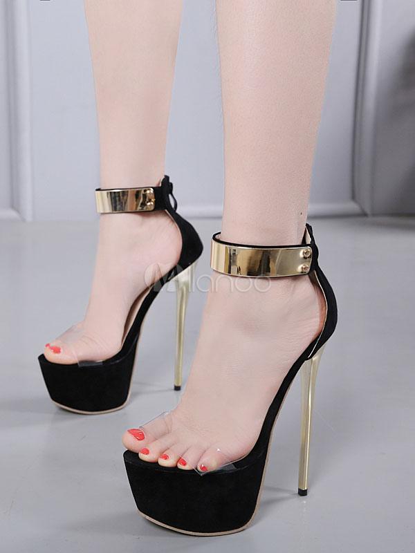 Alto Plataforma Negros Tacón Sandalias Atractivos Zapatos Mujeres De WxorCBQdeE