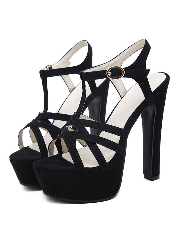 Buy High Heel Sandals Black Platform Open Toe T Type Buckle Detail Sandal Shoes For Women for $41.99 in Milanoo store