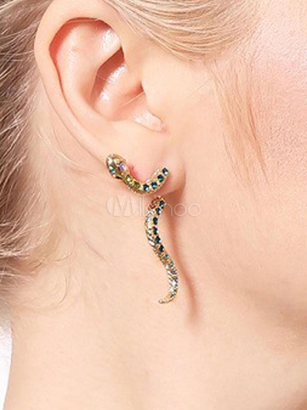 Gold Statement Earrings Snake Rhinestone Ear Studs