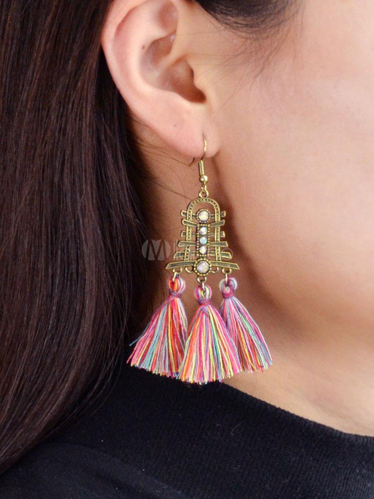 Tassel Earrings Dangle Earrings Blue Flower Statement Earrings