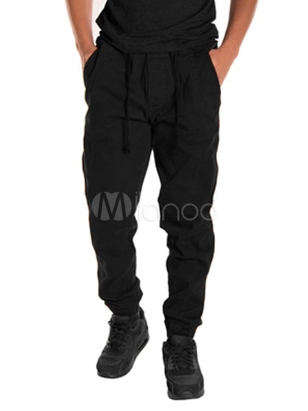 Men Casual Pant Drawstring Solid Color Tapered Pant