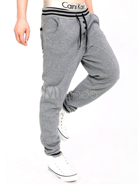 Men Sweat Pant Drawstring Button Tapered Track Pant