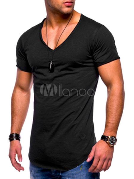 Men Base Top V Neck Summer Casual T Shirt U Hem Plus Size Short Sleeve T Shirt