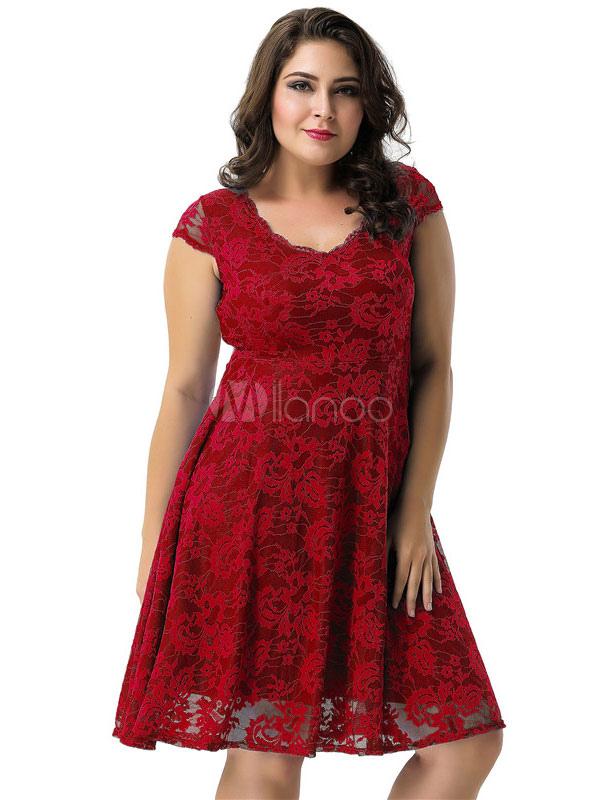 Plus Size Skater Dress V Neck Short Sleeve Lace Summer Dress