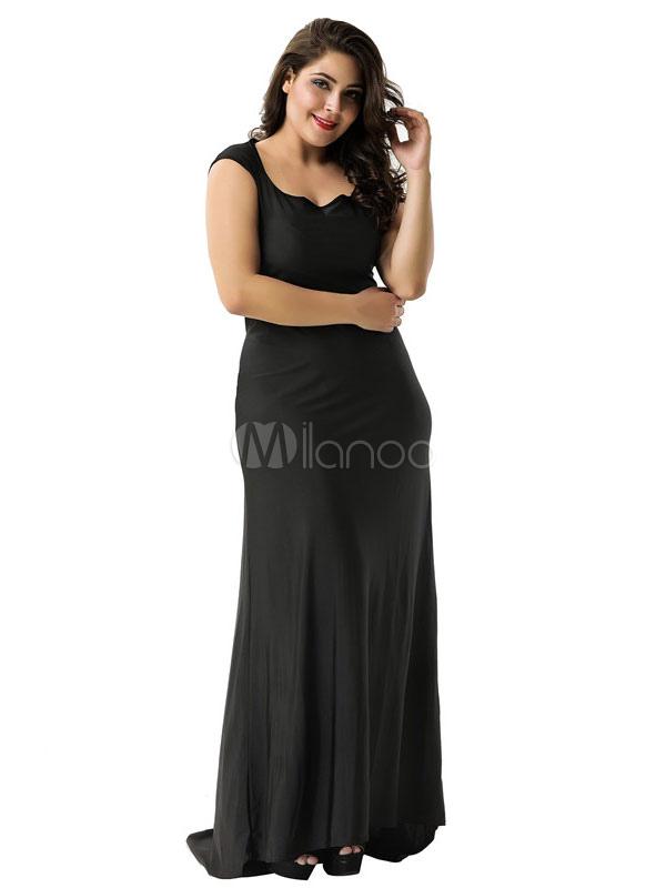 43104f00d Vestido largo de noche sin tirantes con cuello en V escote redondo sin  mangas de vestido ...