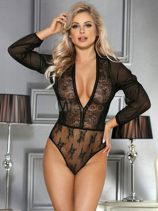 Women Sexy Teddies Lace Semi Sheer Plunging Neck Lingerie