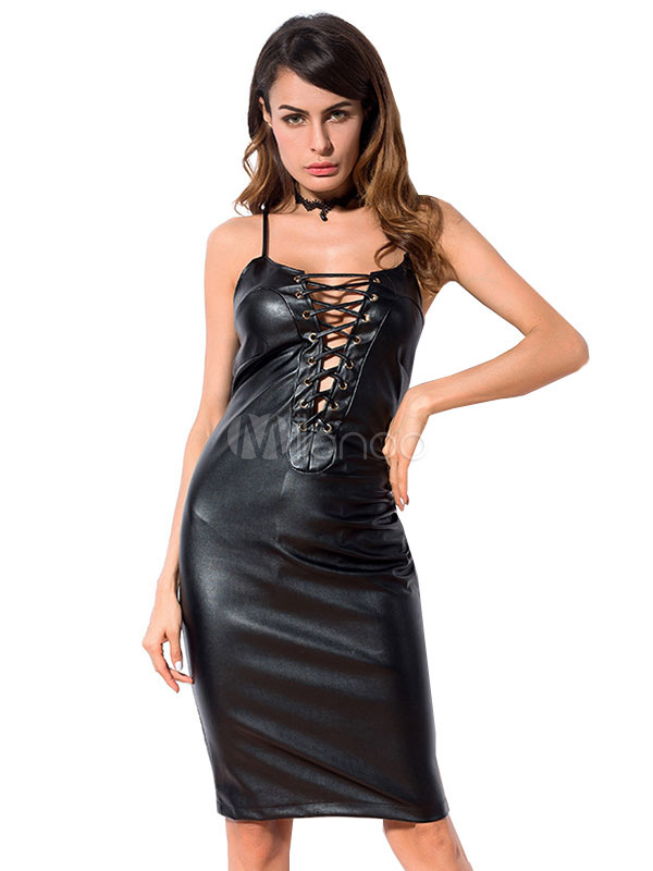 efe7eeea616 Black Bodycon Dress Straps Lace Up Sleeveless PU Leather Shaping Sexy Club  Dress