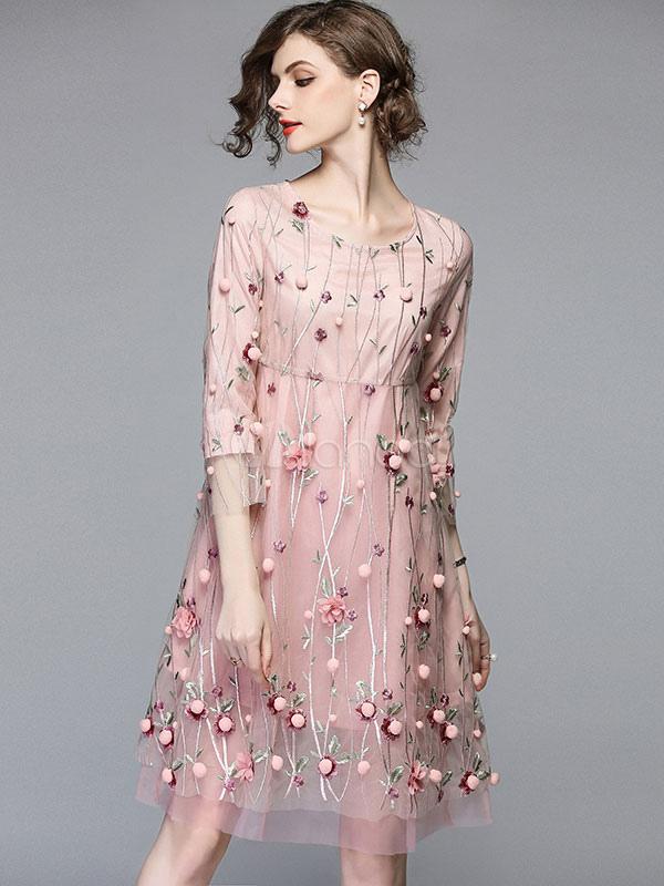 Bestickt Pom Shift Frauen Midi Sommer Kleid Poms Tüll Blumen 0O8XnwPk