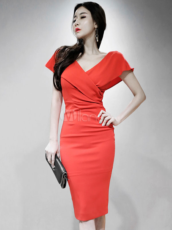 985811e17989 Red Bodycon Dress V Neck Short Sleeve Split Sexy Pencil Dress-No.1 ...