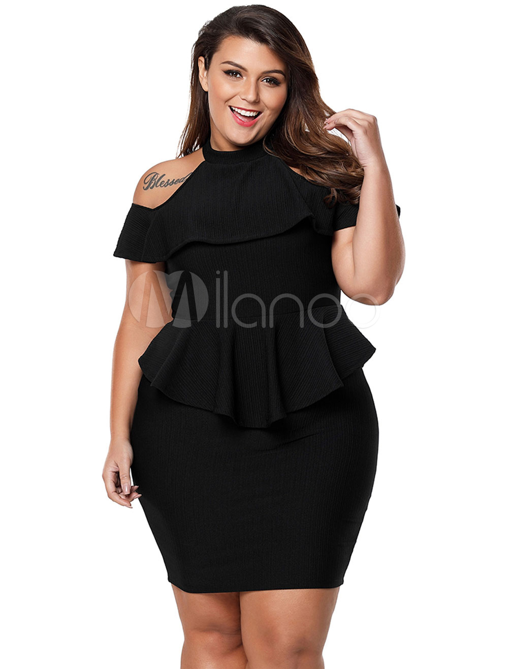 Plus Size Bodycon Dress Short Sleeve Cold Shoulder Peplum Tight ...