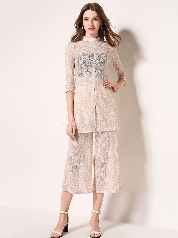 Milanoo High Collar Apricot Summer Outfit | Beanstalk Mums