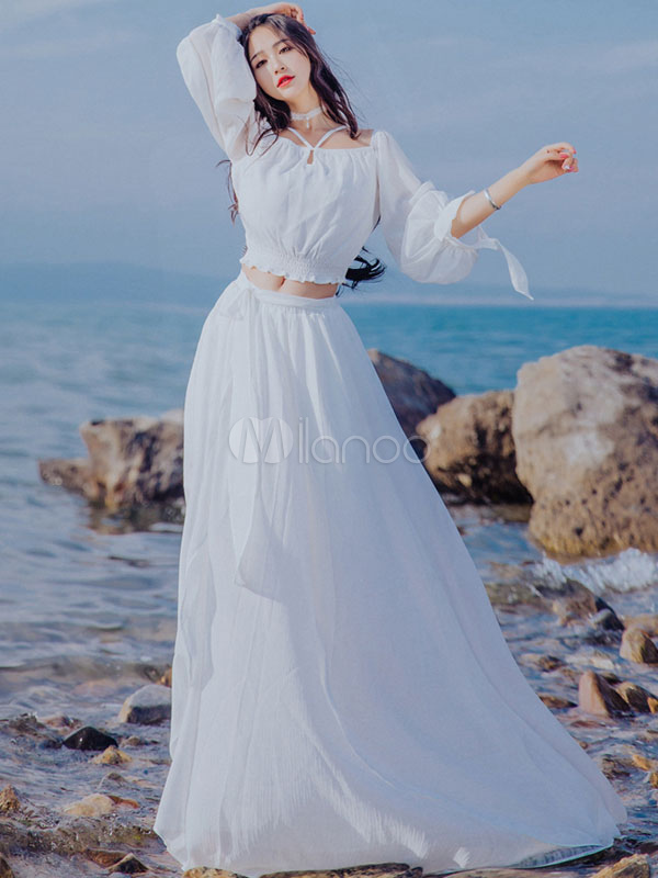 0cc57ec4e3068 Two Piece Dress White Long Sleeve Off The Shoulder Summer Top With Maxi  Skirt-No ...