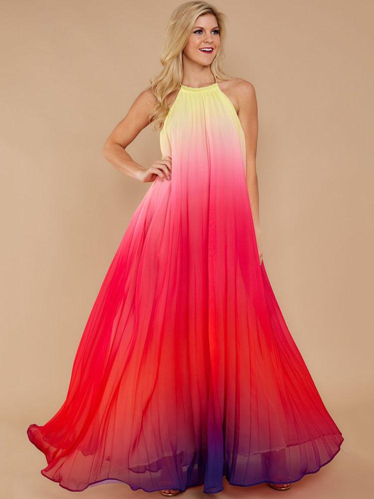 8def8482f02 Chiffon Maxi Dress Tie Dye Halter Backless Ombre Long Summer Dress-No.1 ...