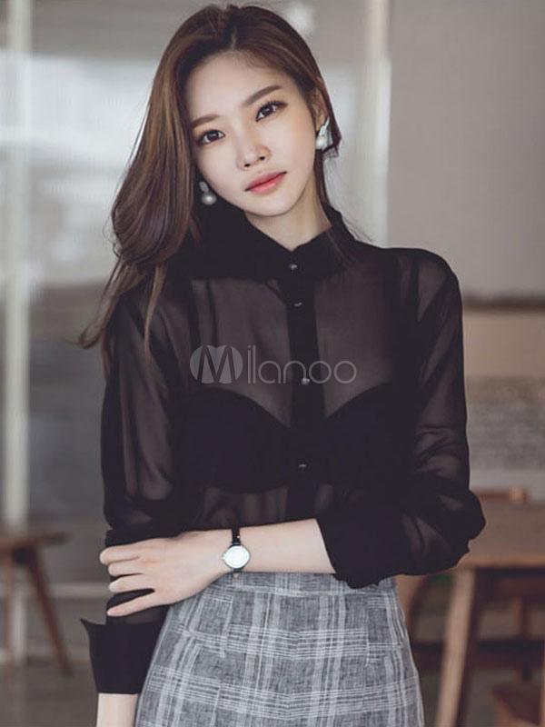 27d29ec76 Blusas negras para mujer Cuello redondo de manga larga Blusa de verano semi  plateada-No ...