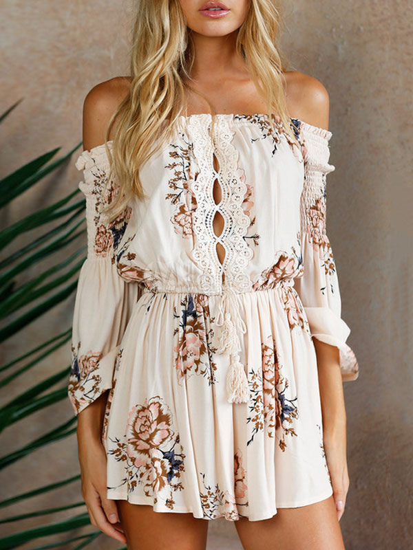 Buy Women Floral Romper Off The Shoulder Lace Apricot Summer Playsuit for $35.09 in Milanoo store