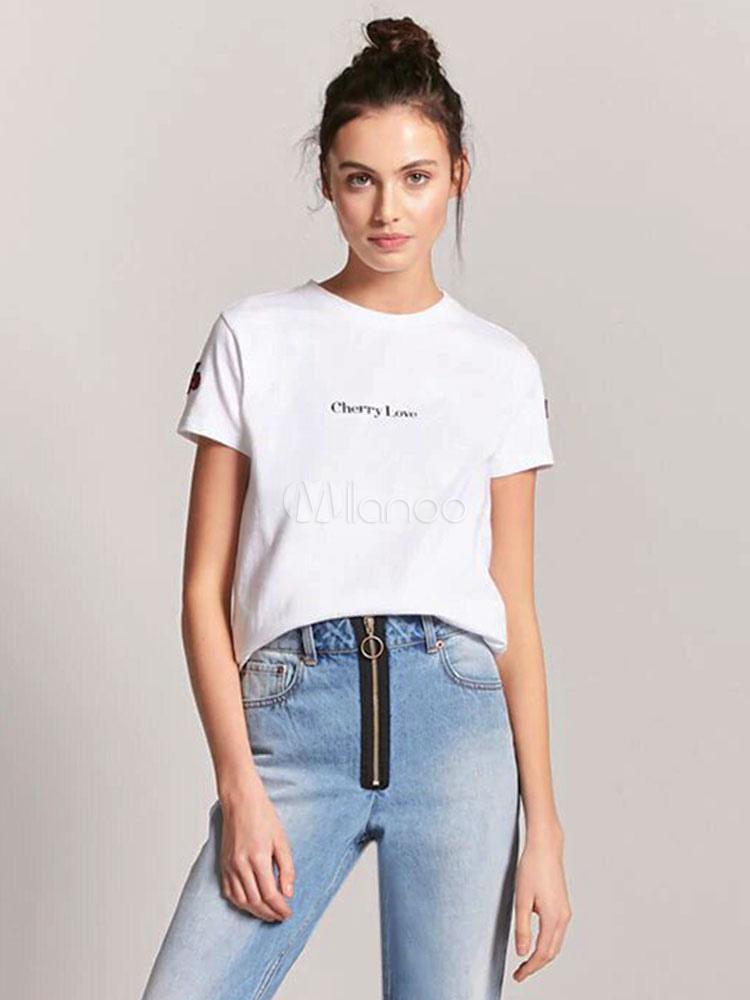 Camiseta Letras Mujeres Cereza De Cuello Corta Las Manga Top Casual Bordado Blanca Redondo 1JlcFK