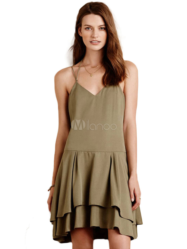 1fe2053ea56f Women Tiered Dress Spaghetti Straps Layered Hunter Green Slip Dress-No.1 ...