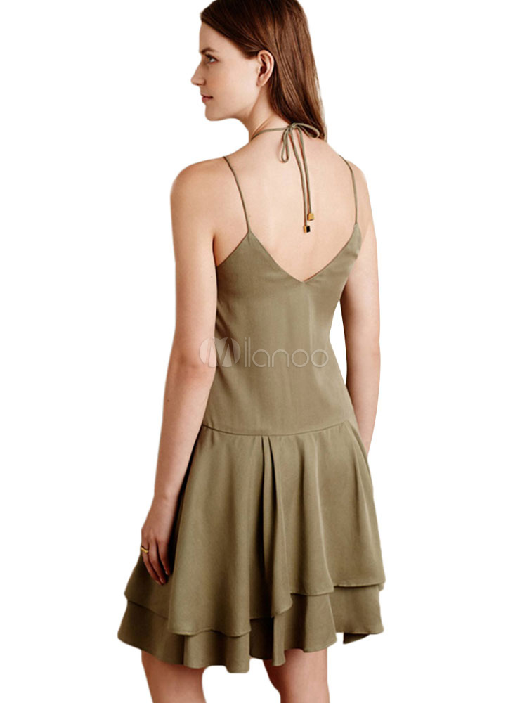 50313c558379 ... Women Tiered Dress Spaghetti Straps Layered Hunter Green Slip Dress-No.2  ...