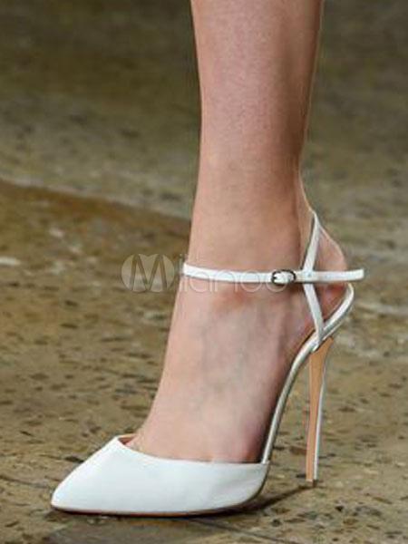 White High Heels Women Dress Shoes Pointed Toe Slingbacks Pumps