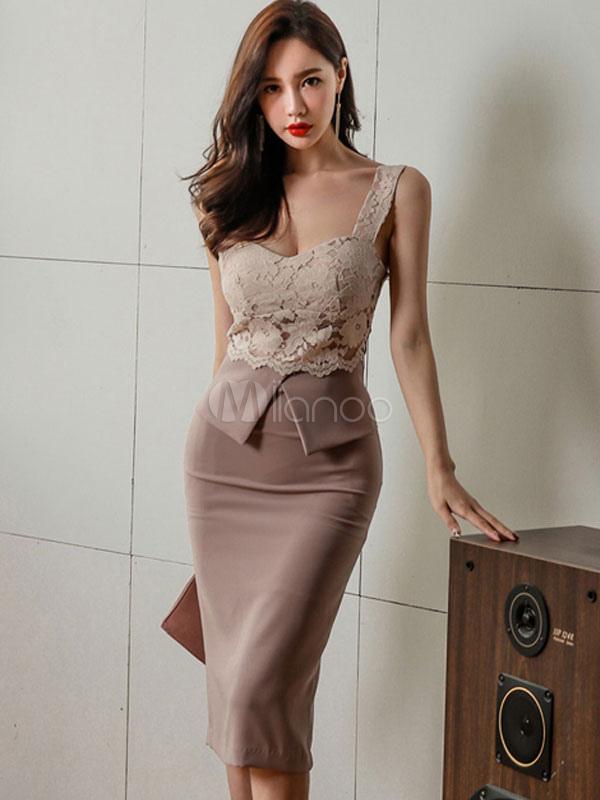 Women Bodycon Dress Sleeveless Lace Patchwork Khaki Summer Party Dress