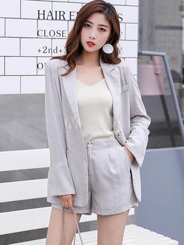 huge selection of c6c39 1c3a8 Giacca da donna Completo da collo in cotone con maniche lunghe in lino con  pantaloncini