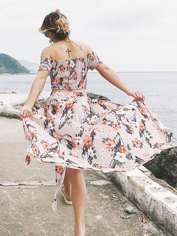 competitive price 664d9 c22c6 Floral Maxirock Set aus der Schulter Kurzarm Chiffon rosa Top mit langen  Rock