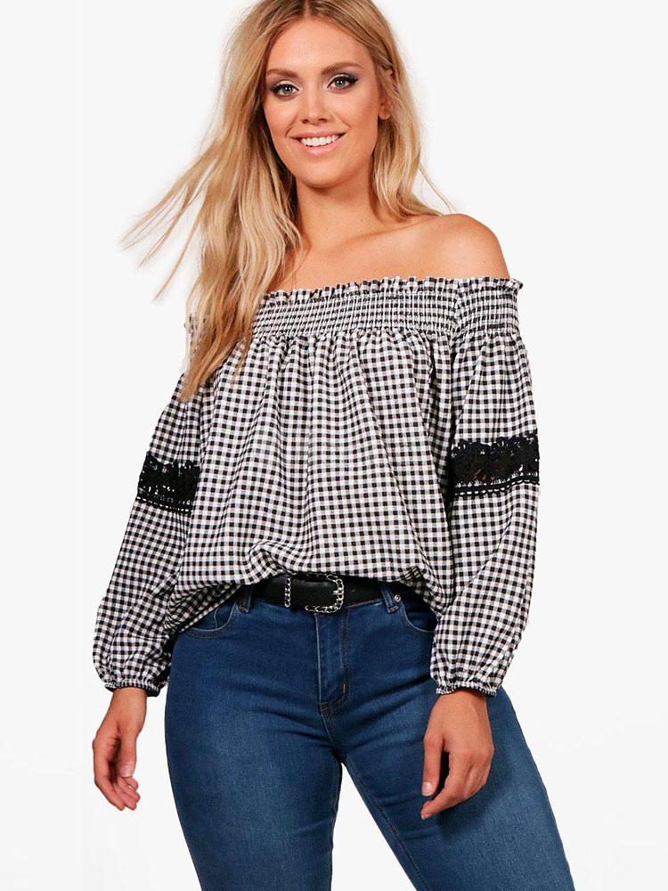 ec4bae2480e491 Plus Size Black Blouses Plaid Lace Off The Shoulder Long Sleeve Bardot Top -No.