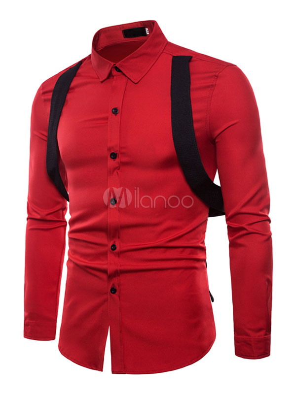 Long Sleeve Shirt Suspender Strappy Spring Top Men Casaul Shirt