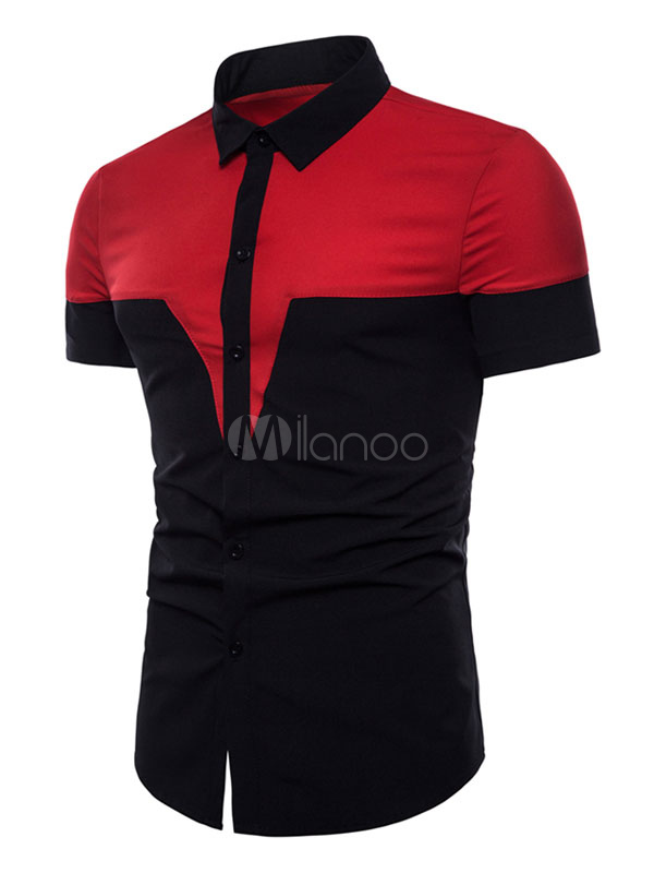 Black Men Shirt Color Block Slim Fit Short Sleeve Casual T Shirt