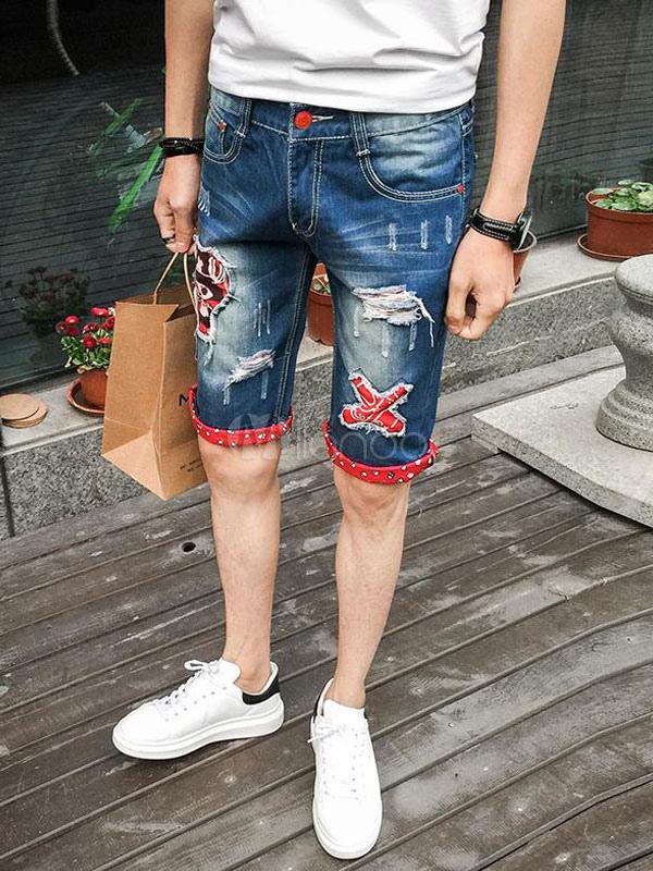 molto carino 74782 ba364 Pantaloncini corti strappati da uomo in denim blu con pantaloncini  strappati da uomo