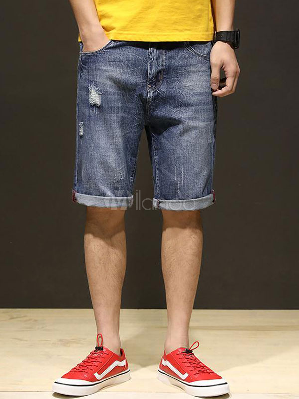 Buy Blue Jean Shorts Plus Size Ripped Men Jeans Wash Distressed Cuffed Denim Shorts for $33.29 in Milanoo store