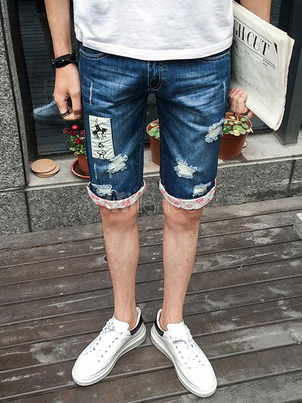 Buy Men Jean Shorts Destroyed Applique Wash Distressed Blue Ripped Denim Jeans for $33.29 in Milanoo store