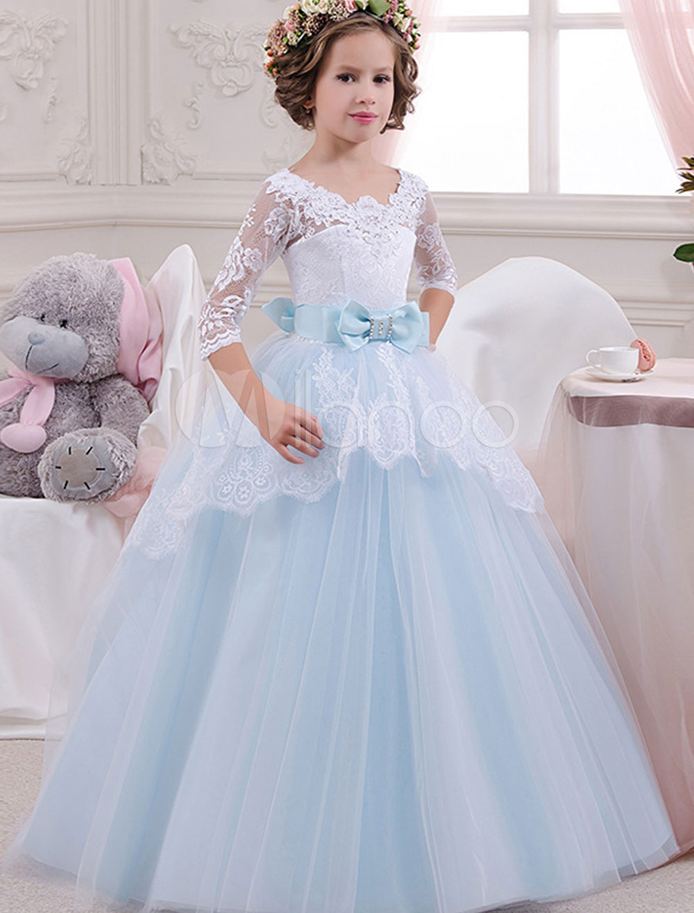 Princess Flower Girl Dresses Baby Blue Lace Bow Sash Rhinestones Floor Length Kids Pageant Party Dress