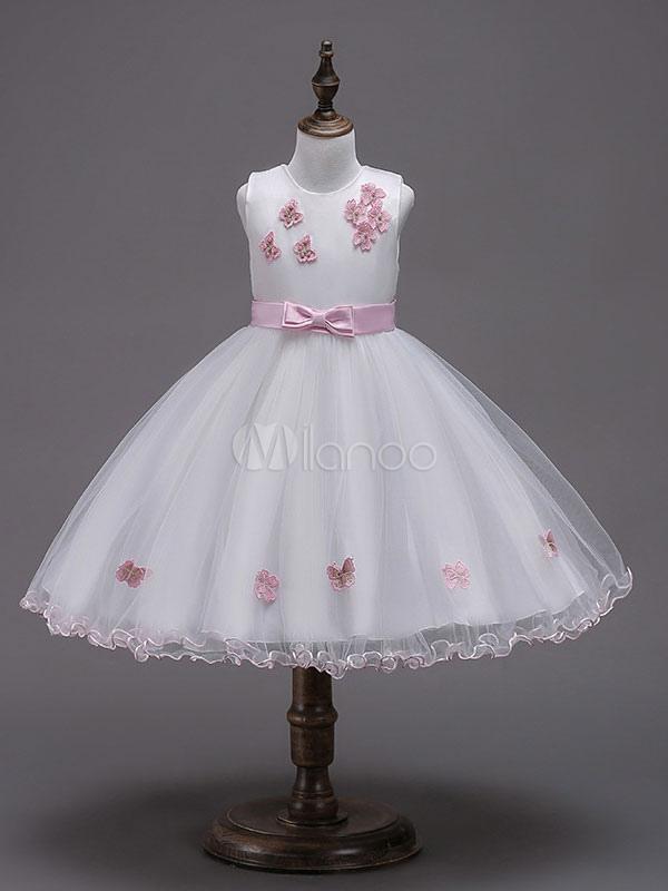 daf3ad565 Flower Girl Dresses Princess Tutu Dress Butterfly Applique Bow Sash  Sleeveless Kids Formal Dress-No ...