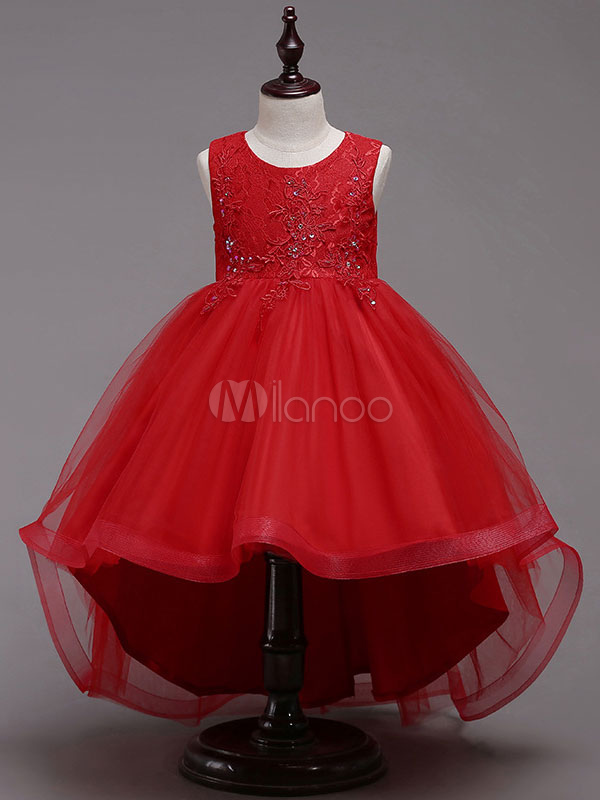 Red Flower Girl Dresses Lace Applique Sleeveless Bows Asymmetrical Kids Pageant Party Dress