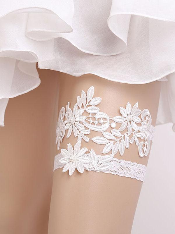 buy popular fa8ac d2e47 Spitze Hochzeit Strumpfband Weiß Blumen Braut Dessous Zubehör