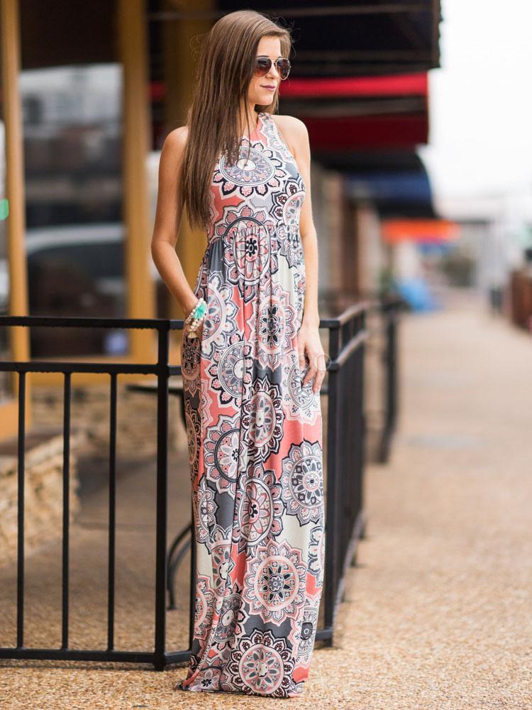 Women Maxi Dress Sleeveless Printed Long Summer Dress