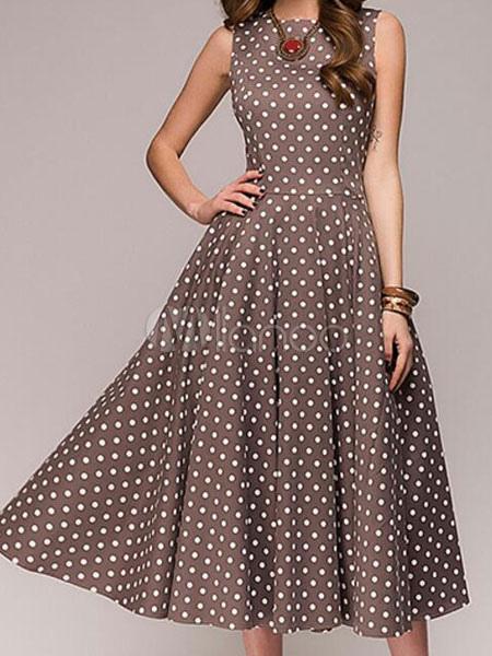 3198dd5d20b9b4 Frauen Vintage Kleid Polka Dot ärmelloses Sommerkleid - Milanoo.com