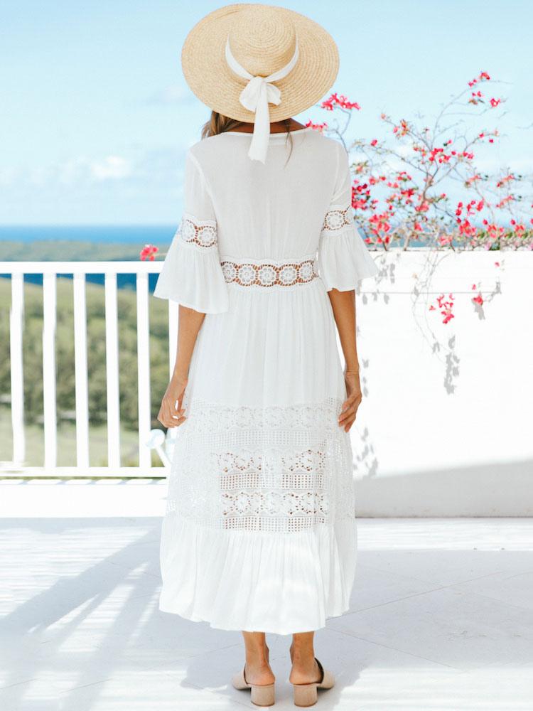 9fcc5a4967d ... Robe longue blanche 2019 col en V demi manches en mousseline de soie  robe d