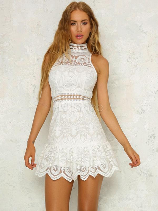 White Mini Dress Sleeveless Cut Out High Collar Lace Summer Dress
