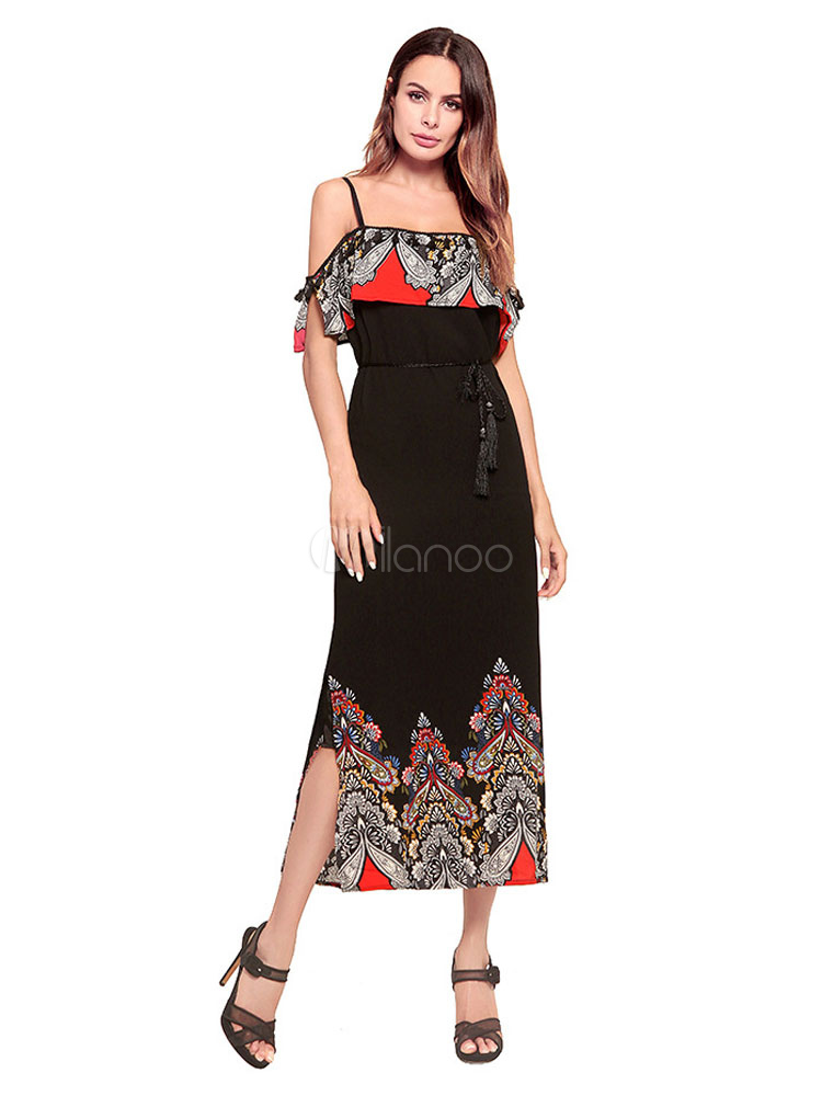 4293a2b911892 فستان صيفي طويل من الشيفون بوهو شيفون مزين بشق الانقسام - Milanoo.com