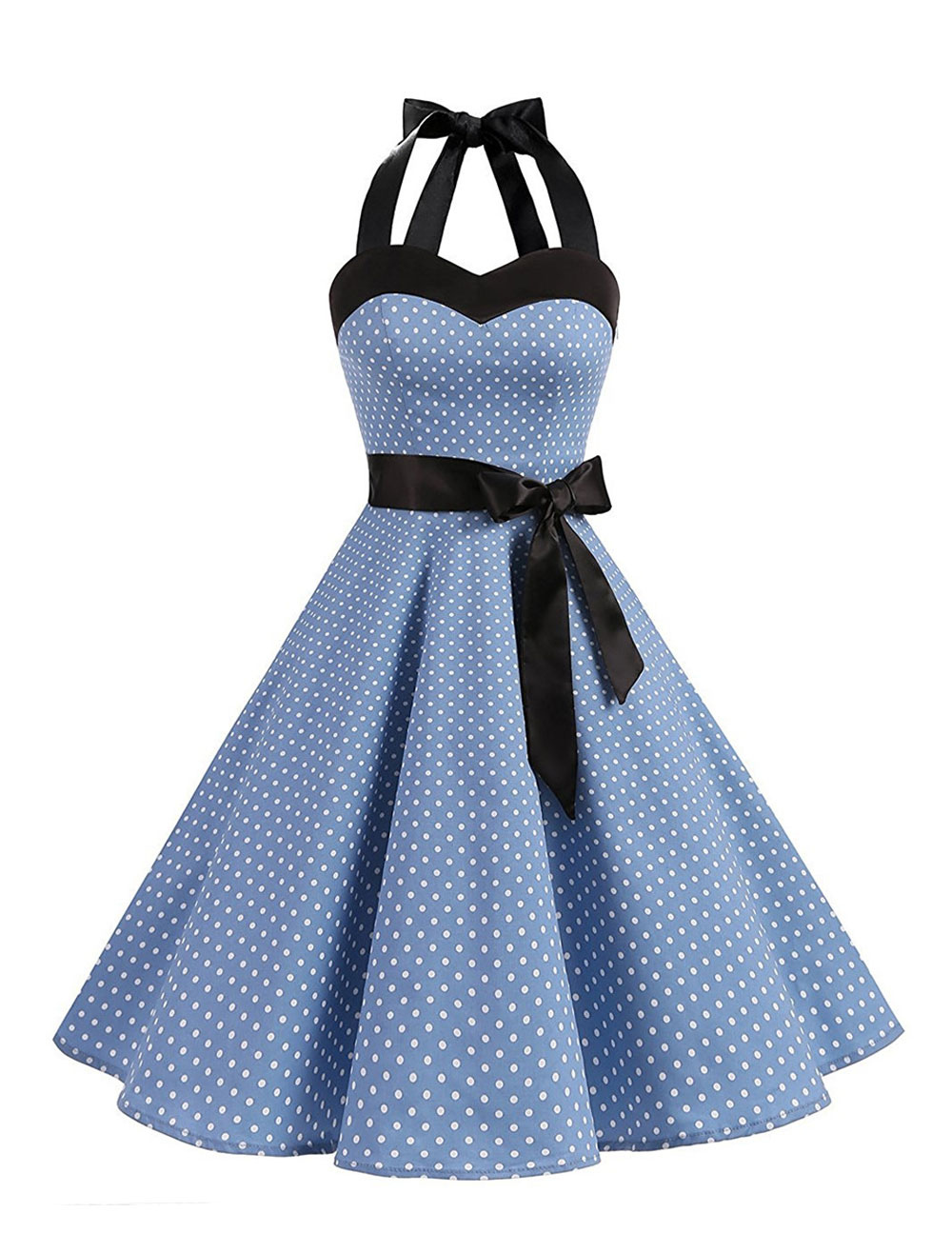 polka dot vintage dresses halter bows backless cotton retro pin up dress