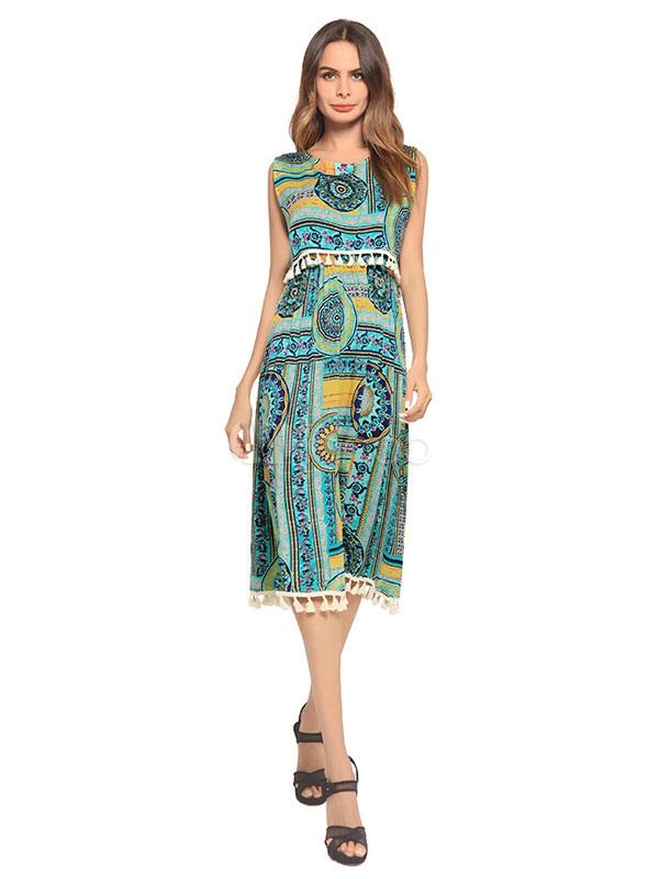 Buy Women Summer Dress Sleeveless Fringe Green Printed Chiffon Skater Dress for $33.29 in Milanoo store