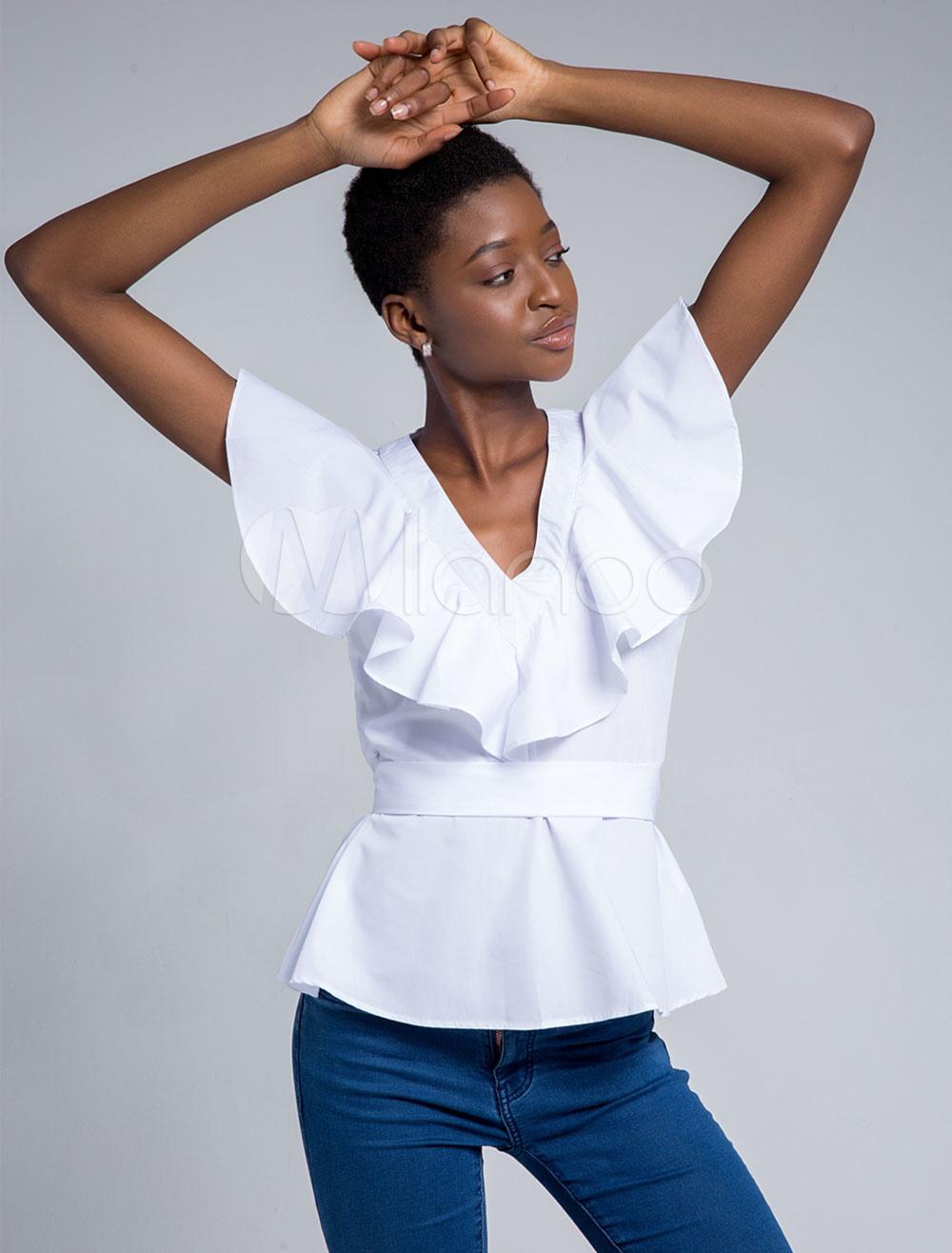 Women Summer Blouses V Neck Short Sleeve Sash Casual Top