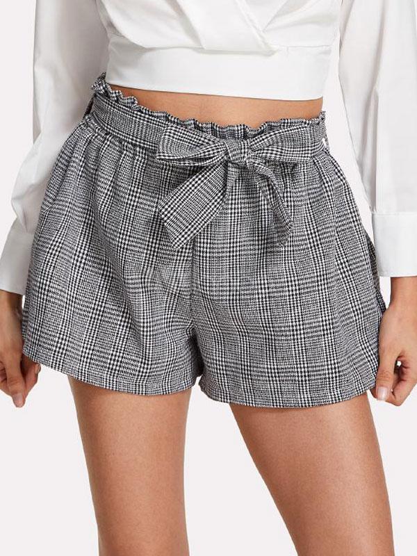 Women Plaid Shorts Sash Grey Summer Shorts