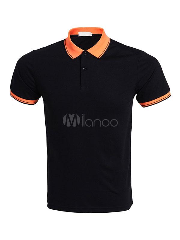Men Polo Shirt Turndown Collar Stripe Two Tone Cotton Top Casual Short Sleeve T Shirt