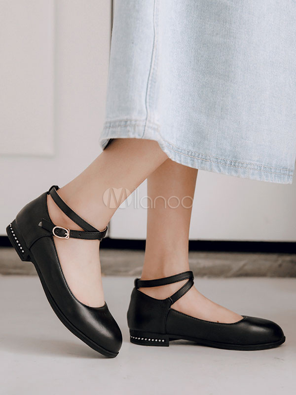 Women Ballet Flats Plus Size Round Toe Ankle Strap Flat Shoes
