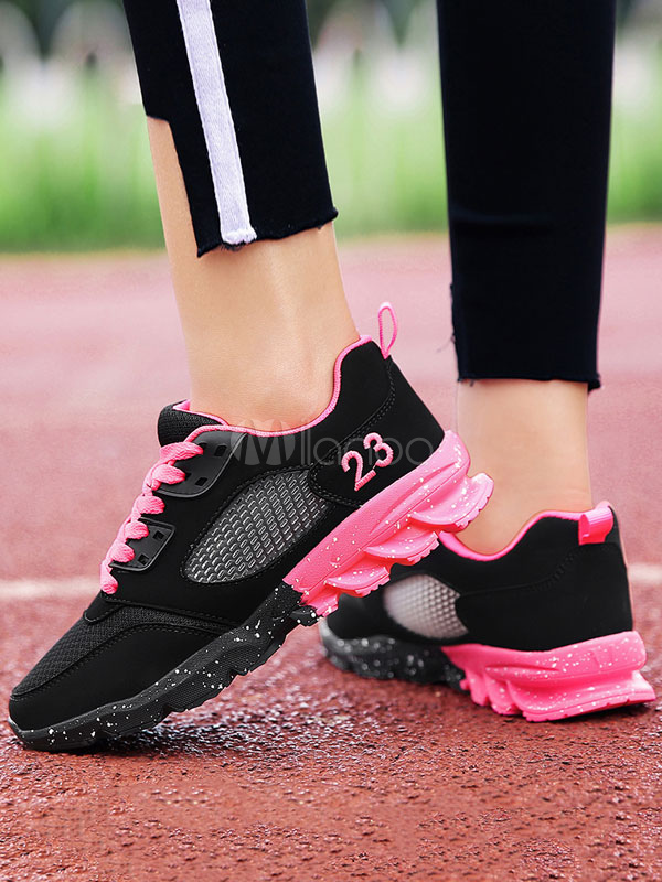 Women Casual Shoes Round Toe Lace Up Patchwork Sneakers Mesh Sport Shoes
