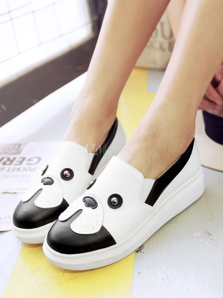 Women Casual Shoes Round Toe Animal Pattern Slip On Shoes